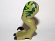 Part No: 98071pb04  Name: Dinosaur Leg Large (Rear) Raptor Left with Pin, Black Claws and Dark Green Stripes over Lime Pattern