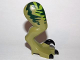 Part No: 98072pb04  Name: Dino Leg Large (Rear) Raptor Right with Pin, Black Claws and Dark Green Stripes over Lime Pattern