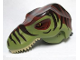 Part No: 98161c02pb01  Name: Dino Head Tyrannosaurus rex with Pin, Tan Teeth, Reddish Brown Top and Dark Brown Stripes Pattern