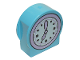 Part No: 14222pb019  Name: Duplo, Brick 1 x 3 x 2 Round Top, Cut Away Sides with Clock, Lavender Arrow and Bezel Pattern