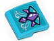 Part No: 15068pb064  Name: Slope, Curved 2 x 2 with Medium Lavender and Medium Azure Geometric Dragon Scales and White Swirls Pattern (Sticker) - Set 41172