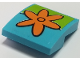 Part No: 15068pb189  Name: Slope, Curved 2 x 2 No Studs with Orange Flower on Lime Background Pattern (Sticker) - Set 75903