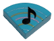 Part No: 25269pb021  Name: Tile, Round 1 x 1 Quarter with Music Note Eighth and Curved Lines Pattern