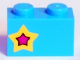 Part No: 3004pb175L  Name: Brick 1 x 2 with Yellow and Magenta Star on Left Side Pattern (Sticker) - Set 41346
