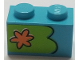 Part No: 3004pb196L  Name: Brick 1 x 2 with Orange Flower on Lime Background Pattern, Model Left (Sticker) - Set 75903