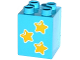 Part No: 31110pb106  Name: Duplo, Brick 2 x 2 x 2 with 3 Yellow Stars Pattern