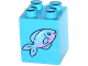 Part No: 31110pb110  Name: Duplo, Brick 2 x 2 x 2 with Fish with Pink Stomach Pattern