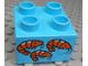 Part No: 3437pb080  Name: Duplo, Brick 2 x 2 with 3 Orange Shrimp Pattern