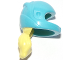 Part No: 36293c01pb04  Name: Mini Doll, Hair Combo, Hat with Hair, Racing Helmet with Flexible Rubber Bright Light Yellow Hair Ponytail Pattern