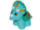 Part No: 37063pb01  Name: Duplo, Animal Dinosaur Triceratops Baby with Horns and Bright Light Orange Spots Pattern