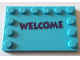 Part No: 6180pb112  Name: Tile, Modified 4 x 6 with Studs on Edges with Dark Purple 'WELCOME' Pattern (Sticker) - Set 71016