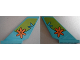 Part No: 6239pb066  Name: Tail Shuttle with Lime Arc with Medium Azure Splash and Orange Flower Pattern on Both Sides (Stickers) - Set 75901