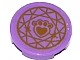 Part No: 14769pb111  Name: Tile, Round 2 x 2 with Bottom Stud Holder with Gold Paw Print with Heart and Circular Geometric Pattern (Sticker) - Set 41142