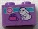 Part No: 3004pb170  Name: Brick 1 x 2 with Paw Print, Rabbit and Food Bowl Pattern (Sticker) - Set 41345