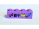 Part No: 3010pb243  Name: Brick 1 x 4 with Magenta Bow, Dark Blue 'BFF', Yellow Cat Face and Paintbrush Pattern (Sticker) - Set 41346
