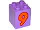 Part No: 31110pb081  Name: Duplo, Brick 2 x 2 x 2 with Number 9 Orange Pattern