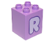Part No: 31110pb160  Name: Duplo, Brick 2 x 2 x 2 with Letter R Lavender Pattern