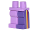 Part No: 970d34c01  Name: Minifigure, Legs with Hips - 1 Dark Purple Left Leg, 1 Medium Lavender Right Leg with Yellow and Red Vertical Stripes on Sides Pattern