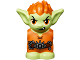 Part No: 28614pb02  Name: Body / Head Goblin with Pointed Ears and Orange Spiked Hair and Tunic with Utility Belt with Goblin Eye Buckle, Chain and Hook Pattern