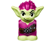 Part No: 28614pb03  Name: Body / Head Goblin with Pointed Ears and Magenta Spiked Hair and Tunic with Utility Belt with Goblin Eye Buckle, Pouch and Candy Bar Pattern