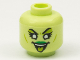 Part No: 3626cpb2778  Name: Minifigure, Head Alien Female Lime Eye Shadow and Tongue, White Eyes, Green Lips Pattern - Hollow Stud