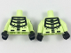 Part No: 973pb2950c01  Name: Torso Black Minifigure Skeleton Pattern / Yellowish Green Arms with Black Minifigure Skeleton Pattern / Black Hands