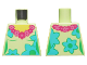 Part No: 973pb3441  Name: Torso Female, Dark Pink and Magenta Lei, Medium Azure and Bright Green Flowers Pattern
