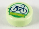 Part No: 98138pb181  Name: Tile, Round 1 x 1 with Dark Blue Bicycle and Lime Ribbon in White Circle with Bright Green Outline Pattern