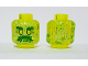Part No: 28621pb0013  Name: Minifigure, Head Alien Ghost with Yellowish Green Face, Bushy Eyebrows, Moustache and Flames in Back Pattern - Vented Stud