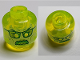 Part No: 28621pb0023  Name: Minifigure, Head Alien Ghost with Yellowish Green Face, Glasses, Angry and Flames in Back Pattern - Vented Stud