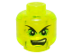 Part No: 3626cpb1425  Name: Minifigure, Head Pointed Eyebrows, Bright Green Eye Shadows, White Pupils, Open Mouth with Upper Teeth Pattern - Hollow Stud