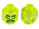 Part No: 3626cpb2435  Name: Minifigure, Head Alien Ghost with Yellowish Green Face, Slime Mouth and Flames in Back Pattern - Hollow Stud
