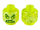 Part No: 3626cpb2451  Name: Minifigure, Head Alien Ghost with Yellowish Green Face, Slime Mouth, Raised Eyebrows and Flames in Back Pattern - Hollow Stud