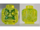 Part No: 3626cpb2493  Name: Minifigure, Head Alien Ghost with Yellowish Green Face, Bushy Eyebrows, Glasses, Angry and Flames in Back Pattern - Hollow Stud
