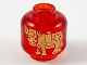 Part No: 28621pb0024  Name: Minifigure, Head (Without Face) Gold Ox / Cow Pattern - Vented Stud