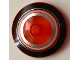 Part No: 3960pb048  Name: Dish 4 x 4 Inverted (Radar) with Solid Stud with Black, Orange and Metallic Silver Circles Pattern