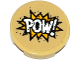 Part No: 14769pb104  Name: Tile, Round 2 x 2 with Bottom Stud Holder with 'POW!' in Yellow Starburst Explosion Pattern (Sticker) - Set 76053