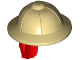 Part No: 18829pb02  Name: Minifigure, Hair Combo, Hat with Hair, Pith Helmet and Red Hair in Ponytail Pattern