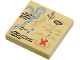 Part No: 3068bpb0148  Name: Tile 2 x 2 with Groove with Map River, Dark Tan Mountains, Handwriting and Red 'X' Pattern