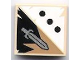 Part No: 3068bpb0419  Name: Tile 2 x 2 with Groove with 3 Black Dots and Sword Pattern