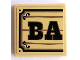 Part No: 3068bpb0821  Name: Tile 2 x 2 with Groove with Black 'BA' on Wood Plaque Background Pattern (Sticker) - Set 70800