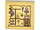 Part No: 3068bpb0932  Name: Tile 2 x 2 with Groove with Map Arrows, Exclamation Mark, Key and Jail Door Pattern (Sticker) - Set 70749