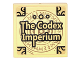 Part No: 3068bpb1017  Name: Tile 2 x 2 with Groove with Book Cover with Gold Corners, Runes, and 'The Codex Imperium' Pattern (Sticker) - Set 76060