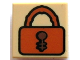 Part No: 3070bpb007  Name: Tile 1 x 1 with Groove with Dark Orange Padlock with Reddish Brown Keyhole Pattern
