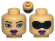 Part No: 3626cpb0528  Name: Minifigure, Head Dual Sided Alien with SW Luminara Unduli Purple Lips and Large Blue Eyes / Protective Eye Mask Pattern - Hollow Stud