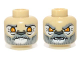 Part No: 3626cpb0969  Name: Minifigure, Head Dual Sided Alien Chima Lion with Orange Eyes and Gray and White Beard, Closed Mouth / Open Mouth Pattern (Lagravis) - Hollow Stud