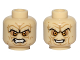 Part No: 3626cpb1175  Name: Minifigure, Head Dual Sided Wrinkles, Sunken Yellow Eyes, Black Eyebrows, Bared Teeth, Angry / Evil Smile Pattern (SW Palpatine) - Hollow Stud
