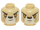 Part No: 3626cpb1224  Name: Minifigure, Head Dual Sided Alien Chima Lion with Orange Eyes and Dark Brown Nose, Neutral / Stern Pattern - Hollow Stud