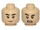 Part No: 3626cpb1706  Name: Minifigure, Head Dual Sided Black Eyebrows, Eyelashes, Dark Orange Cheek Lines Neutral / Open Mouth Scowl Pattern (SW Cdr. Sato) - Hollow Stud
