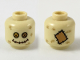 Part No: 3626cpb2289  Name: Minifigure, Head with Dark Tan Hashmarks, Bright Light Orange and Medium Nougat Button Eyes, Stitched Mouth (Scarecrow) Pattern - Hollow Stud